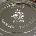 kampioensschaal ø35 cm verzilverd voorzien van gravure logo en namen door repko sneek